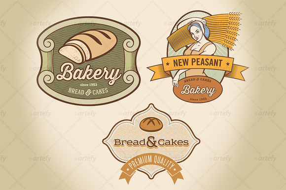Set Of Rural Bakery Labels