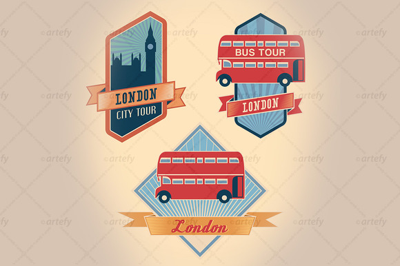 Retro-styled London Tour Labels