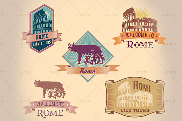 Retro-styled Rome Tour Labels