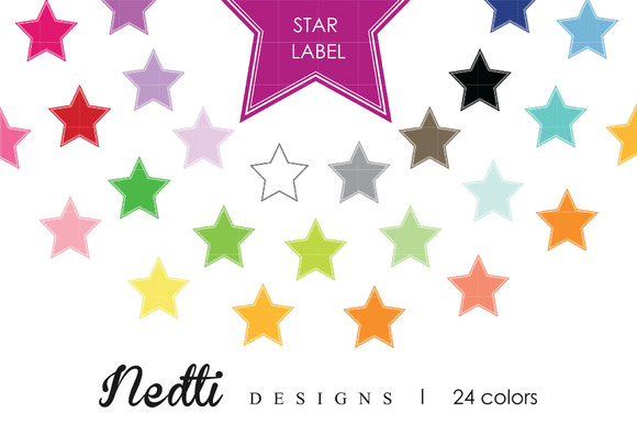 Star Rainbow Label Clipart Vector