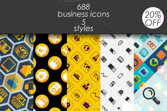 688 Business Icons 5 Styles
