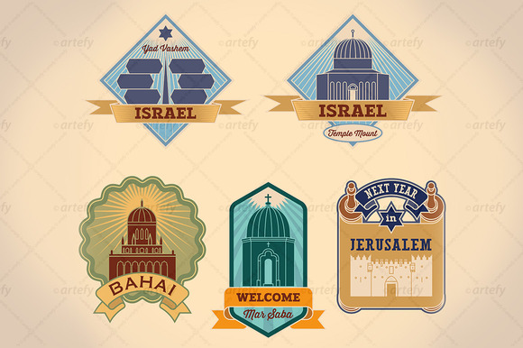 Retro-styled Israel Tour Labels