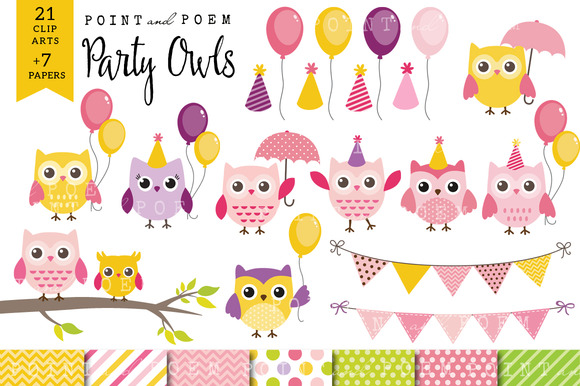Girl Birthday Owl Clip Art