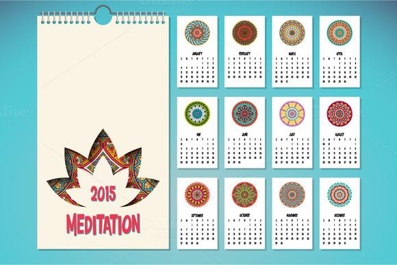 Calendar In Ethnic Style 2015 Year