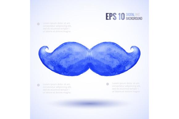 Watercolor Moustaches Set