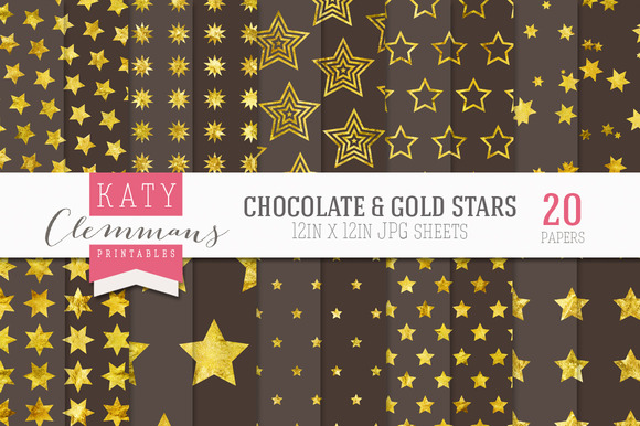 Chocolate Gold Stars Paper Pack