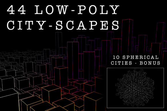 44 Low-Poly Line-Art Cityscapes