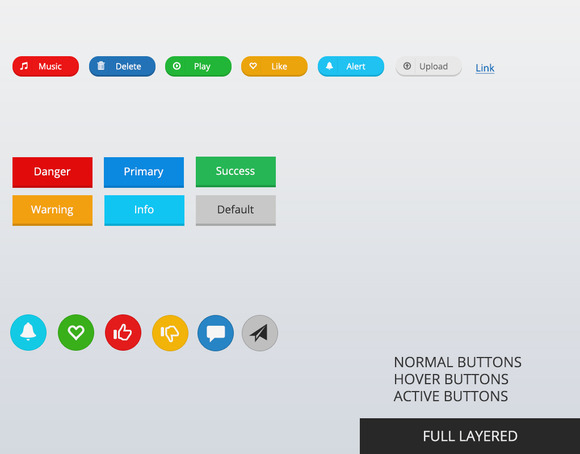 Bootstrap Web Buttons PSD