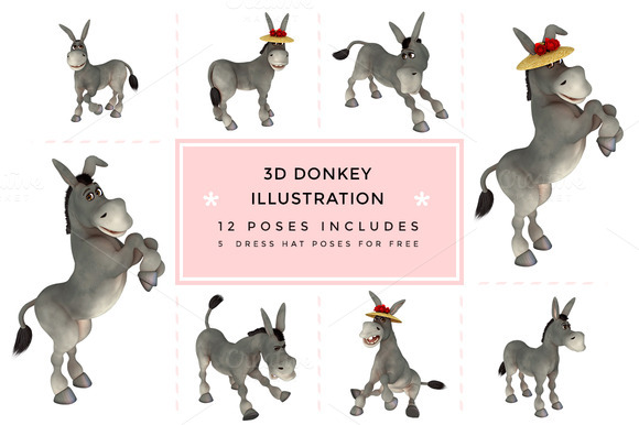 Donkey 3D Character Illustration