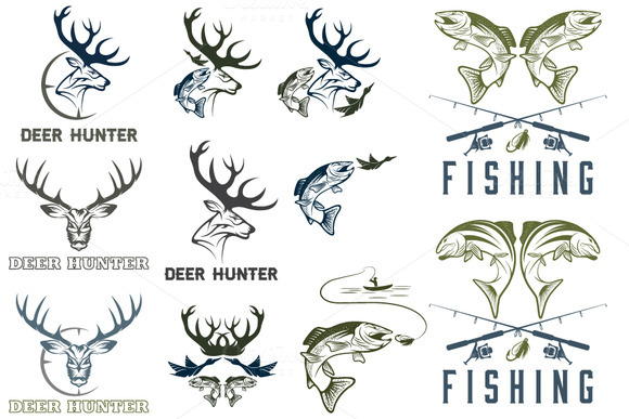Fishing And Hunting Labels