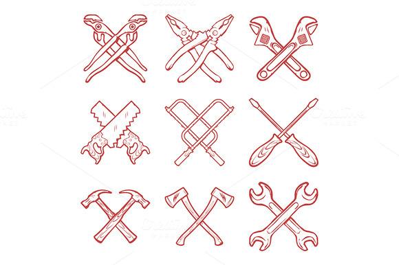 Vector Crossed Hard Work Tools