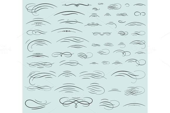 Set Of Calligraphic Swashes