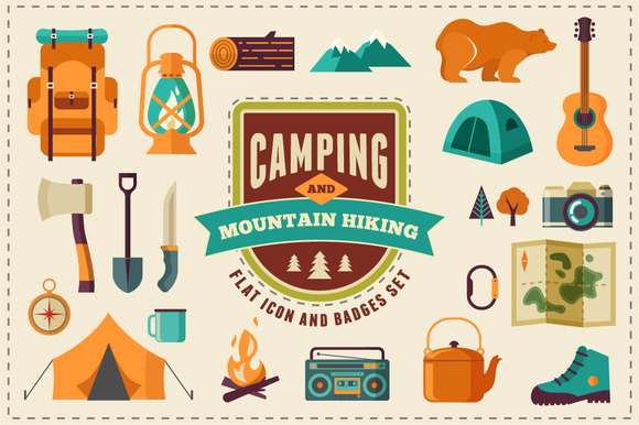Camping Hiking Flat Icon Set