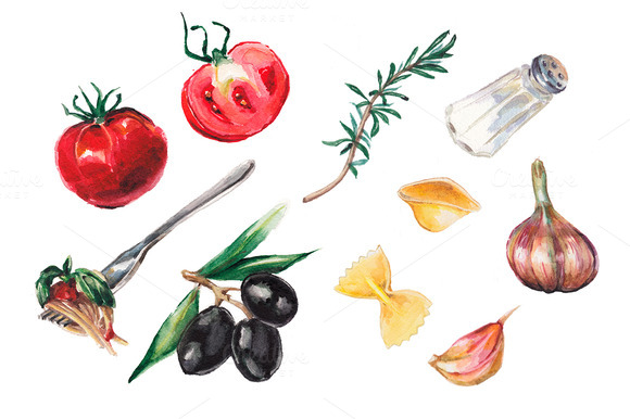 Watercolor Italian Food Collection