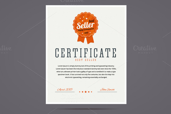 Best Seller Certificate