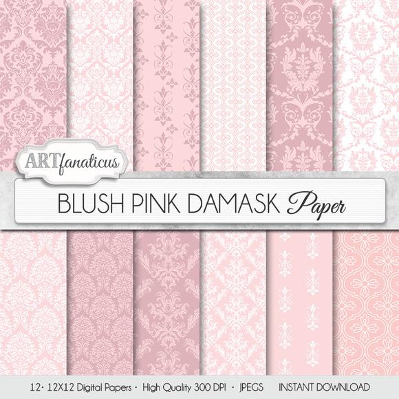 BLUSH PINK DAMASK