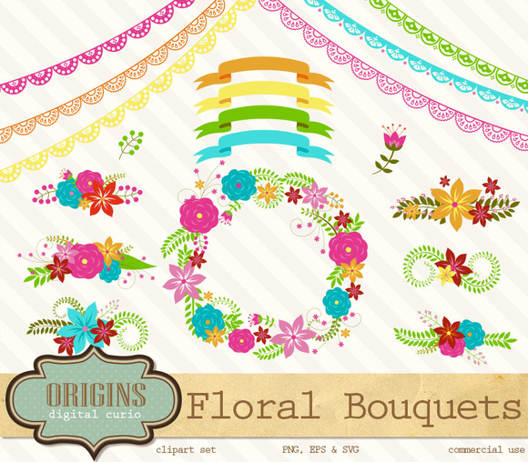 Bright Floral Bouquets Clipart
