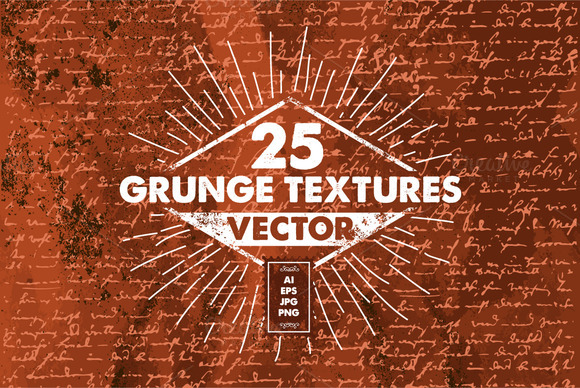 25 PRO Vector Grunge Textures PACK