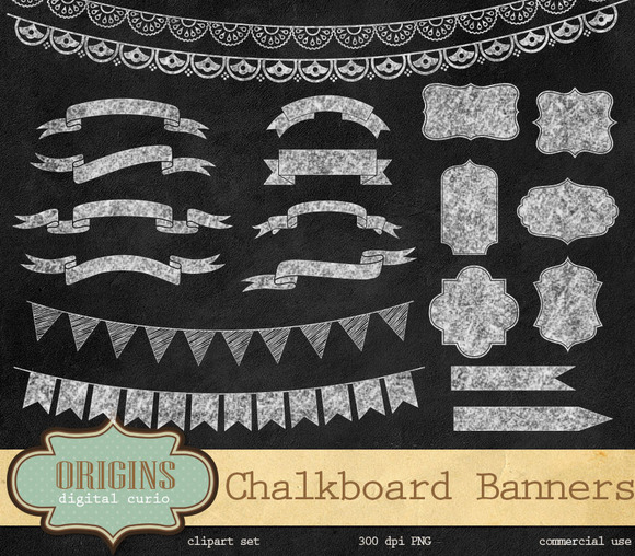 Chalkboard Banners Labels Clipart