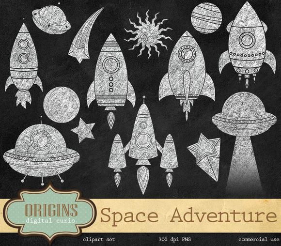 Chalkboard Space Rockets Clipart
