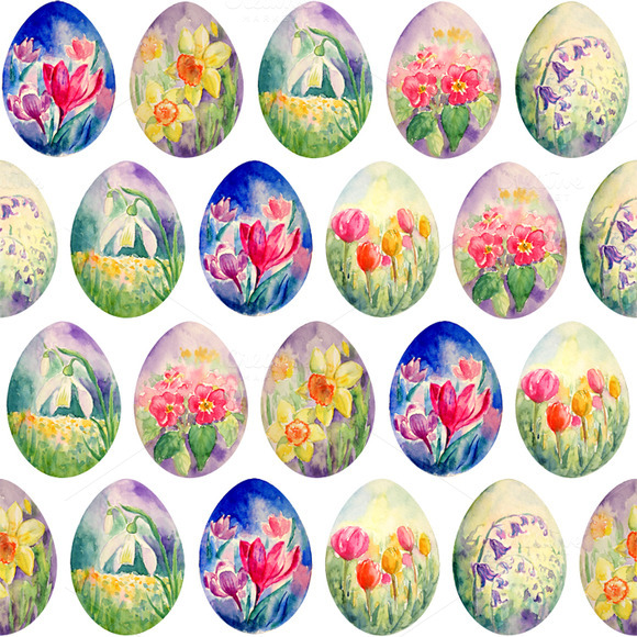 Spring Flower Easter Egg Pattern