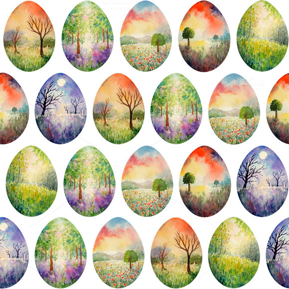 Landscape Easter Eggs Pattern