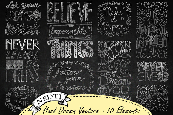 Chalkboard Quotes Hand Drawn Vector