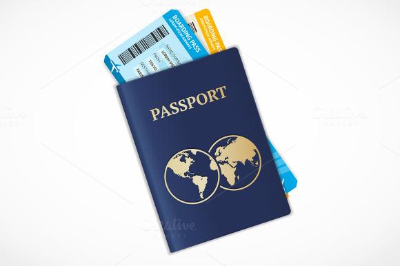 Vector Passport With Tickets Flat