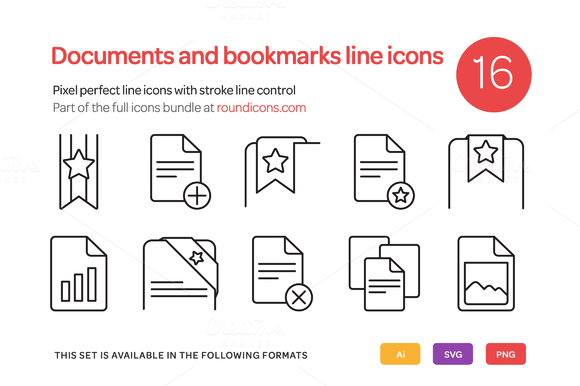 Documents And Bookmarks Line Icons