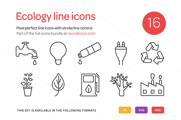 Ecology Line Icons Set