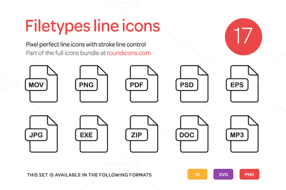 Filetypes Line Icons Set