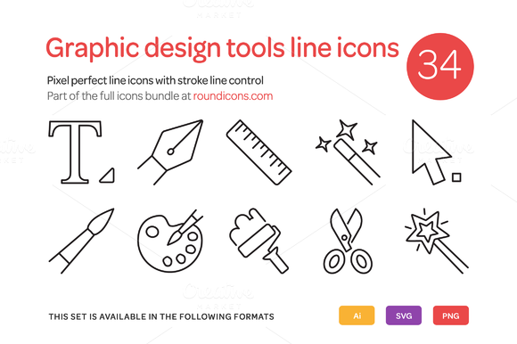 Graphic Design Tools Line Icons Set