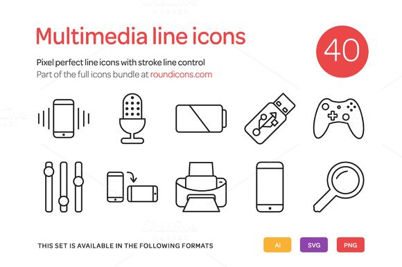 Multimedia Line Icons Set
