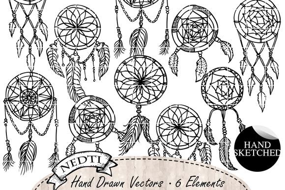 Dream Catchers Doodle Clipart
