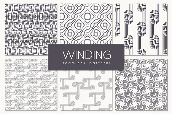 Winding Seamless Patterns Set