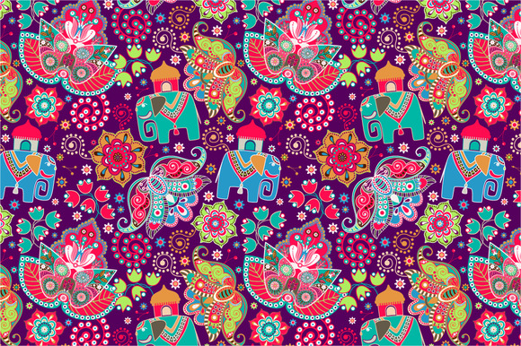 2 Floral Patterns With Elephants