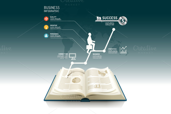 Open Book Infographic Business Step