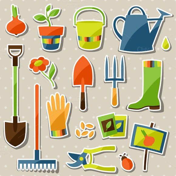 Garden Sticker Design Elements