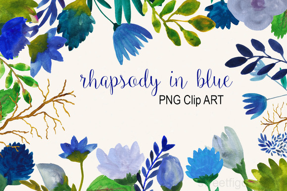 Blue Watercolor Flowers Clip Art