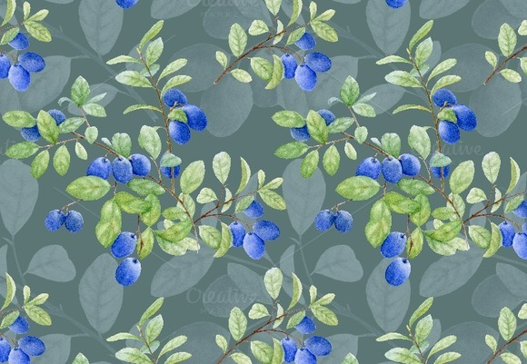 Watercolor Pattern With Berry