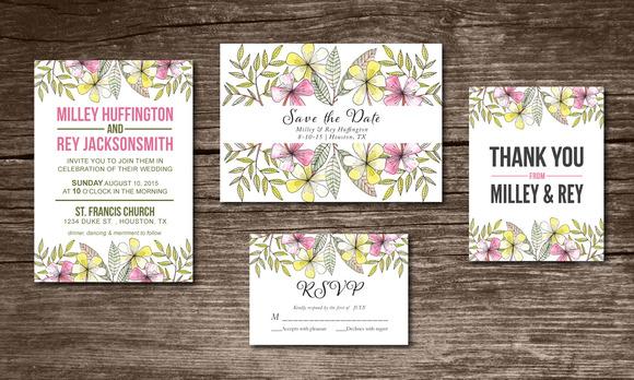 Wedding Invitation Suite Handpainted