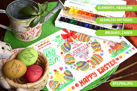 Easter Watercolor Big Set.Vector