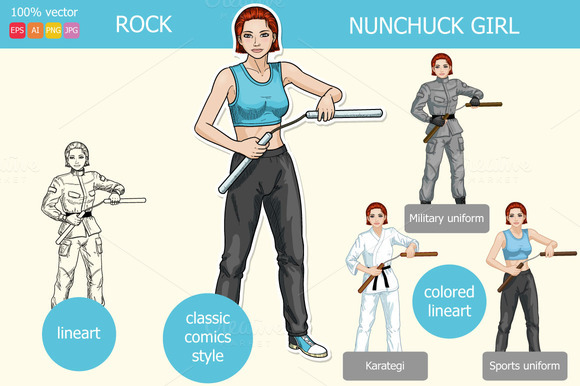 Caucasian Girl Armed With Nunchuck