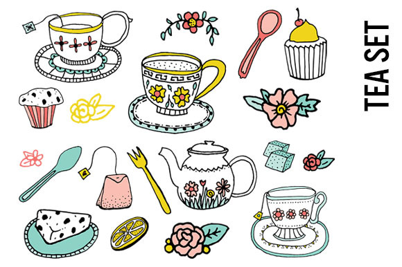 Tea Time Doodle Clip Art