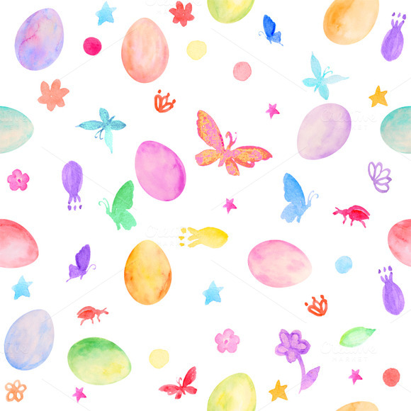 Watercolor Easter Eggs Pattern
