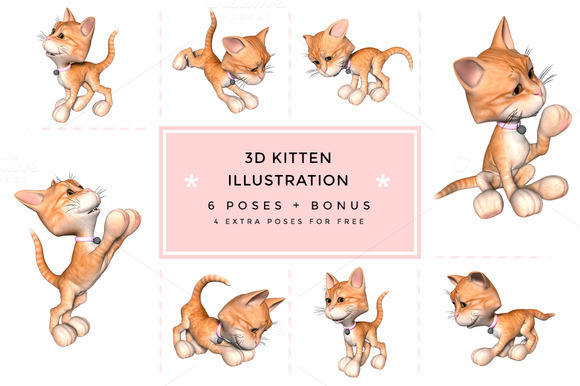 3D Toon Kitten Character