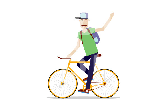 Cyclist On A White Background