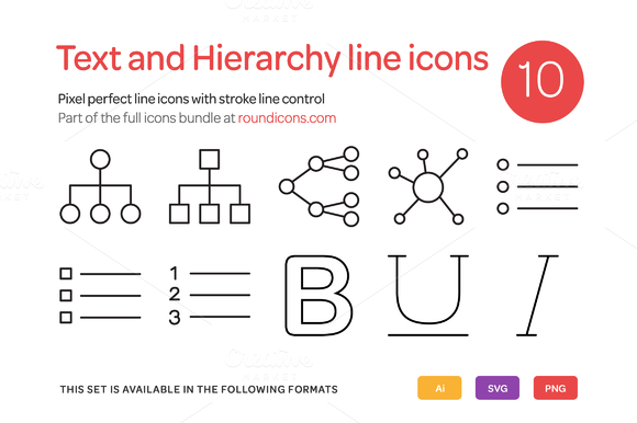 Text And Hierarchy Line Icons Set