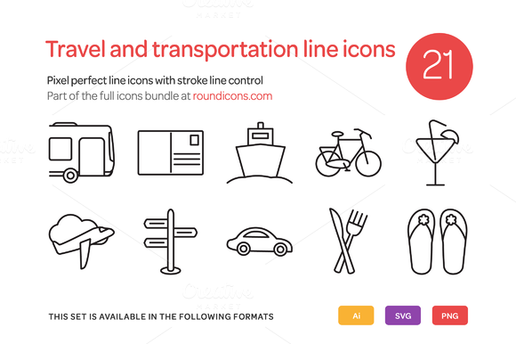 Travel And Transportation Line Icons