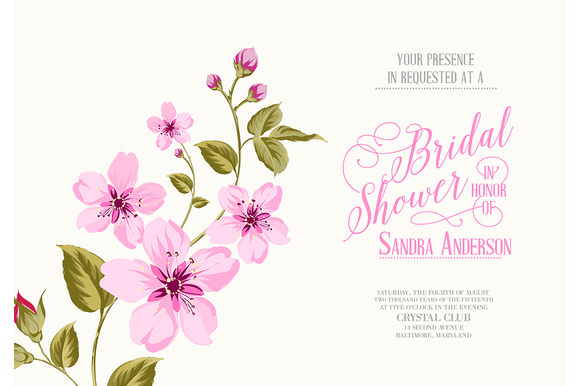 Bridal Shower Invitation With Sakura